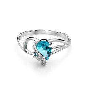 """Кольцо посеребрение """"Драгоценность"""" 20-05944, цвет бело-бирюзовый в серебре, размер 15,5"""