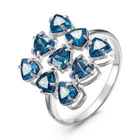 """Кольцо посеребрение """"Льдинки"""" 20-07283, цвет синий в серебре, размер 17"""