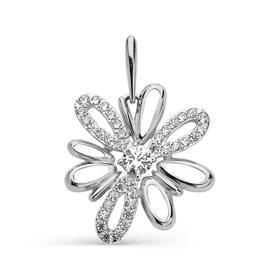 """Подвеска посеребрение """"Цветок"""" 50-02633, цвет белый в серебре"""