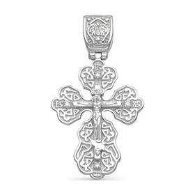 """Подвеска посеребрение """"Православный крест"""" 59-04930, цвет белый в серебре"""