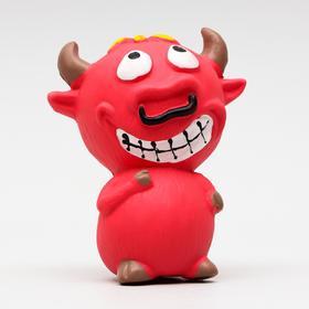 """Игрушка для собак """"Бык-чертик"""", латекс, 10 см, красная"""