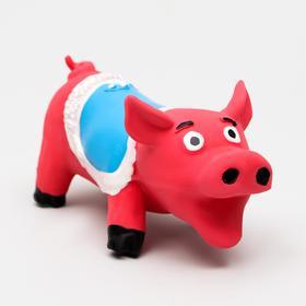 """Игрушка для собак """"Хрюшка"""", латекс, 12 см, красная"""