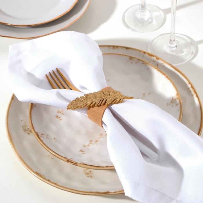 Набор колец для салфетки Golden feather 5,2 х 7,6 см, 4 шт, 100% п/э, фетр