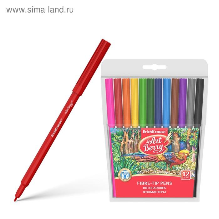 Фломастеры 12 цветов, цветные колпачки, EK 33050