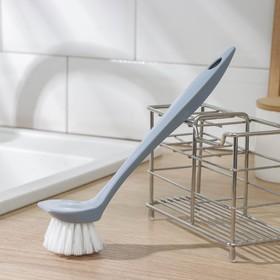 Щёка для посуды с прямой ручкой Bali, цвет светло-голубой