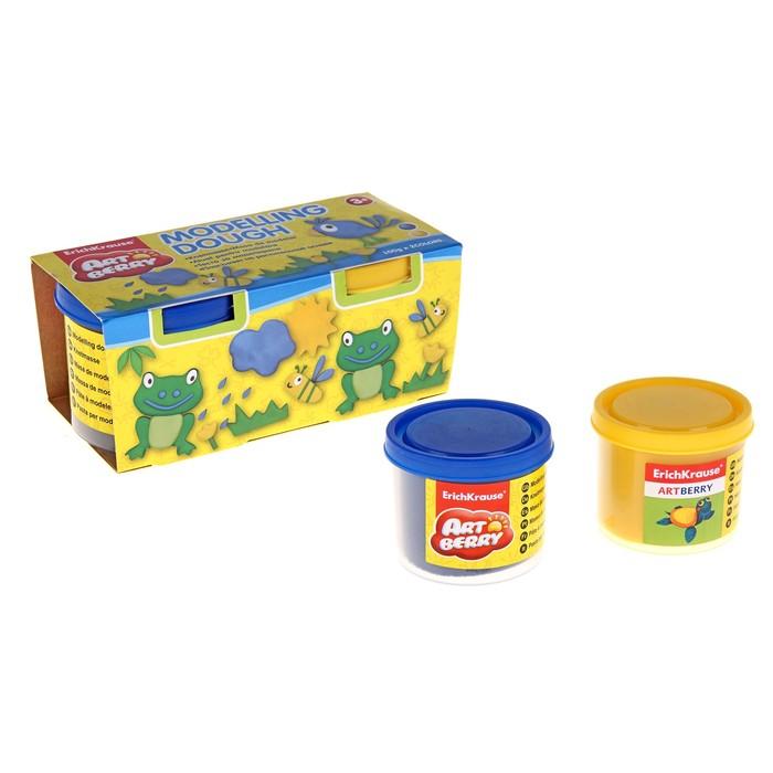 Пластилин на растительной основе набор 2 цвета по 100г Modelling Dough желтый/синий