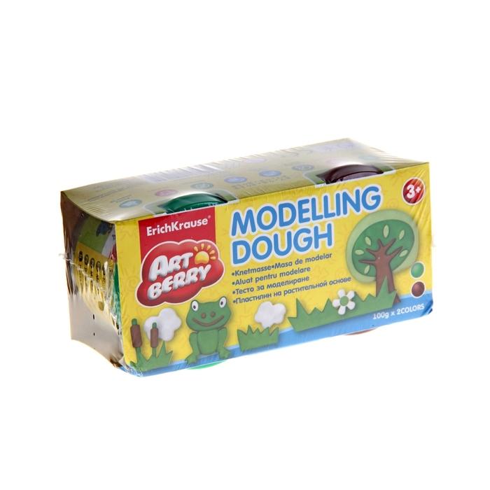 Пластилин на растительной основе набор 2 цвета по 100г Modelling Dough зеленый, коричневый