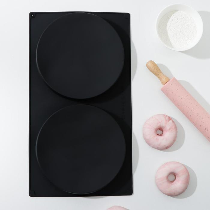 """Форма для выпечки 2 ячейки """"Бискотто"""" 42,5х23,5х3 см (d=20 см), цвет черный"""