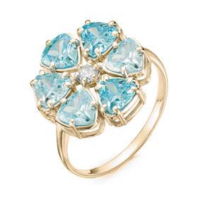 """Кольцо позолота """"Цветочек"""" 20-07302, цвет голубой в золоте, размер 19"""