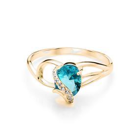 """Кольцо позолота """"Драгоценность"""" 20-05944, цвет бело-бирюзовый в золоте, размер 18"""