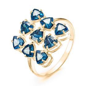 """Кольцо позолота """"Льдинки"""" 20-07283, цвет синий в золоте, размер 18"""