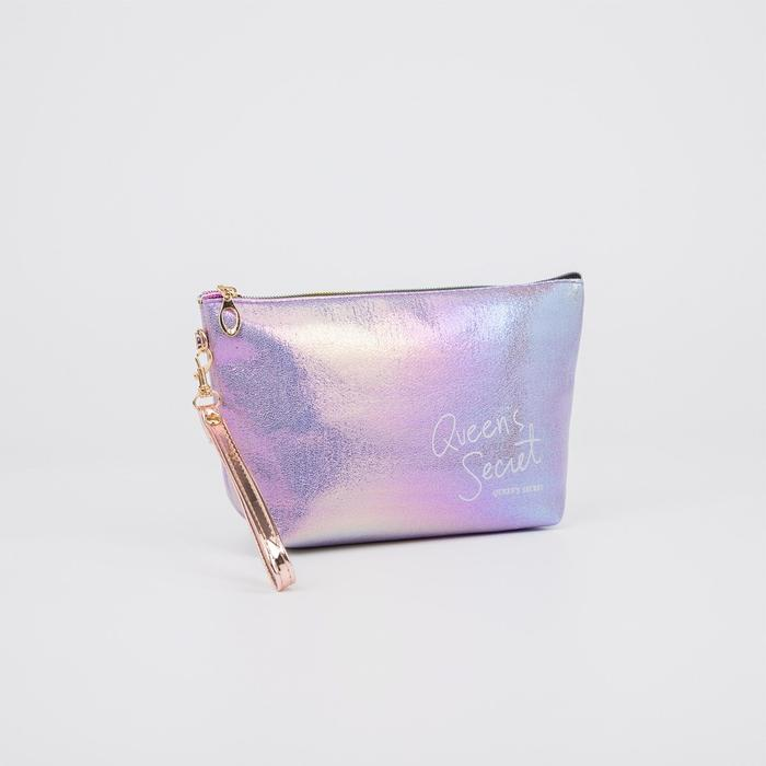 Косметичка-сумка, отдел на молнии, с ручкой, цвет сиреневый, «Secret» - фото 2970980