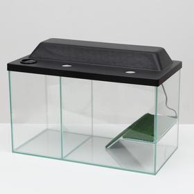 Аквариум-террариум с мостиком 35 литров, с чёрной крышкой,  50 x 25 x 30 см
