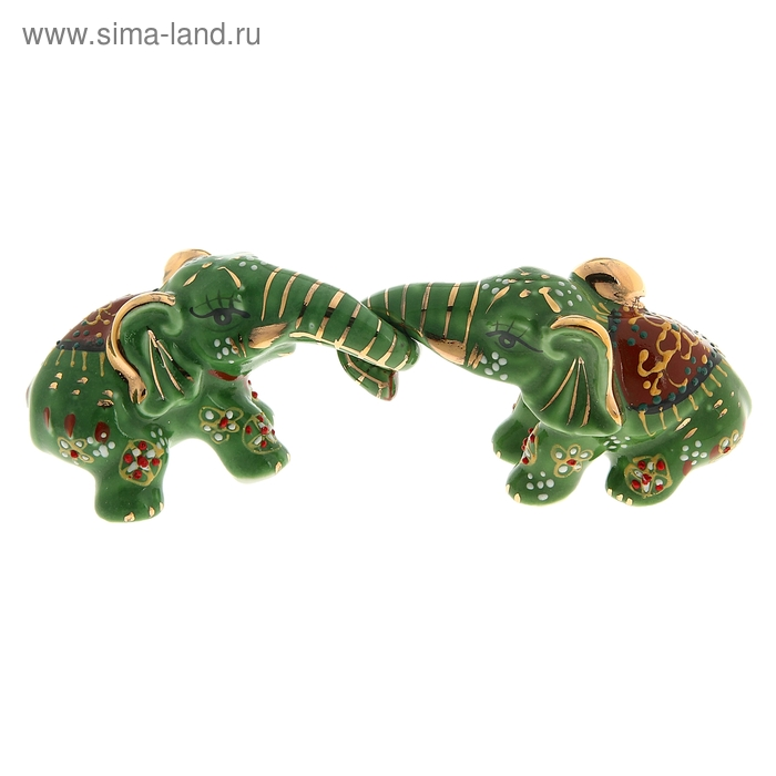 """Нэцкэ """"Слоны цветные зелёные"""", в наборе 2 шт"""