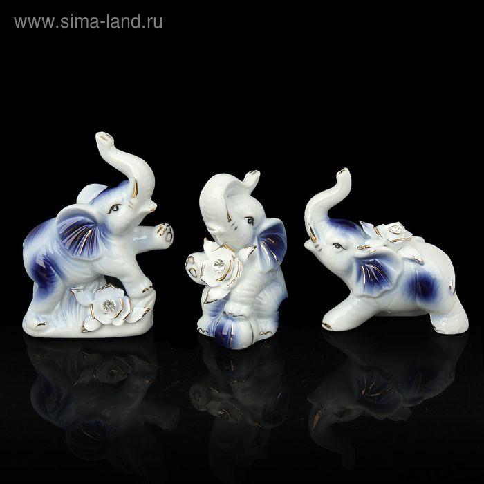 """Сувенир """"Слоны с цветами"""", в наборе 3 шт"""