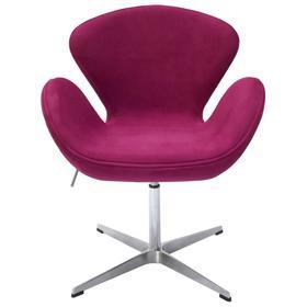 Кресло Swan Chair, 700 × 610 × 950 мм, искусственная замша, цвет винный