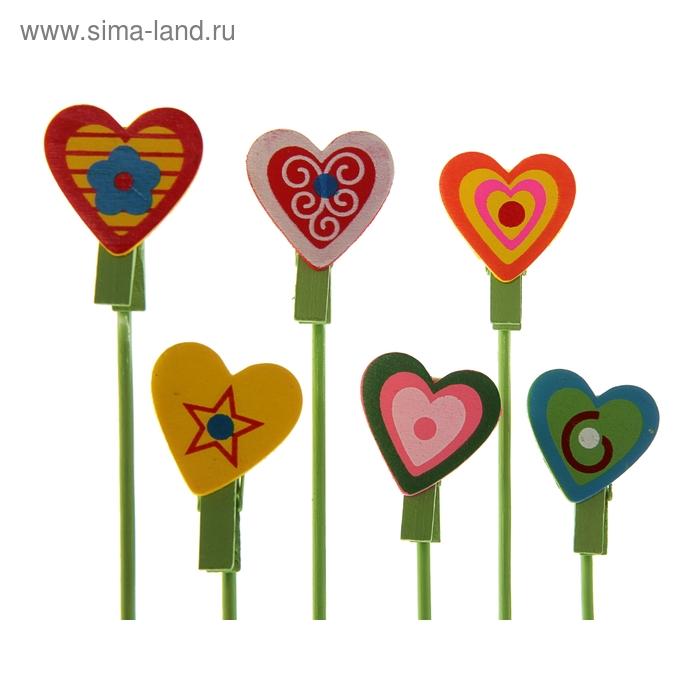 """Сувенир на палочке """"Сердце с узорами"""", набор 12 штук"""