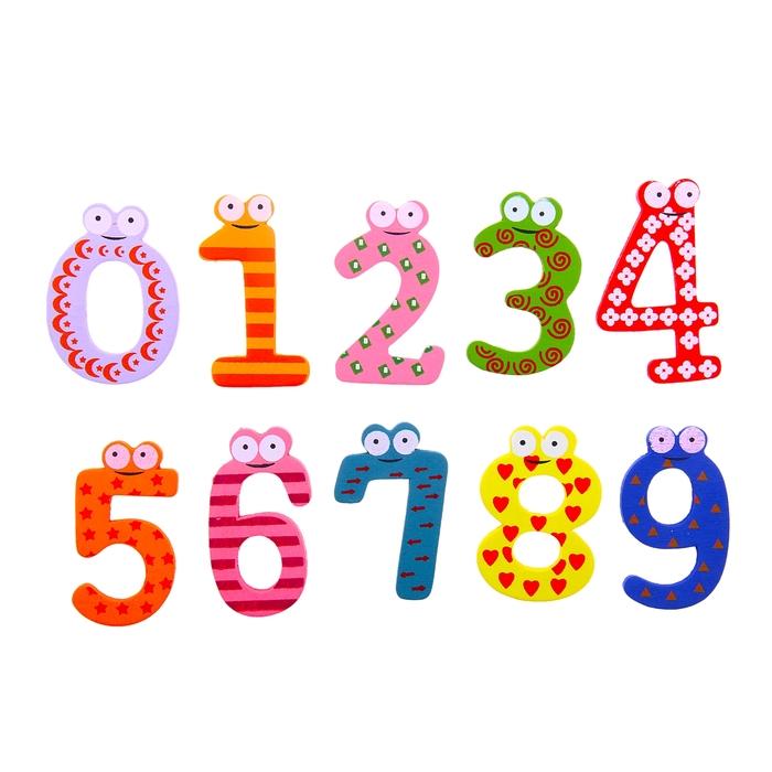 """Цифры магнитные """"Глазастики"""", набор 10 элементов, маленький магнит- кружок"""