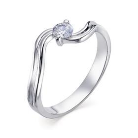 """Кольцо посеребрение """"Изгиб"""" 20-05937, цвет белый в серебре, размер 18,5"""