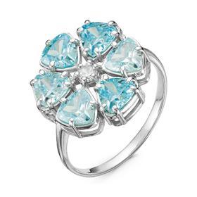 """Кольцо посеребрение """"Цветочек"""" 20-07302, цвет голубой в серебре, размер 19"""