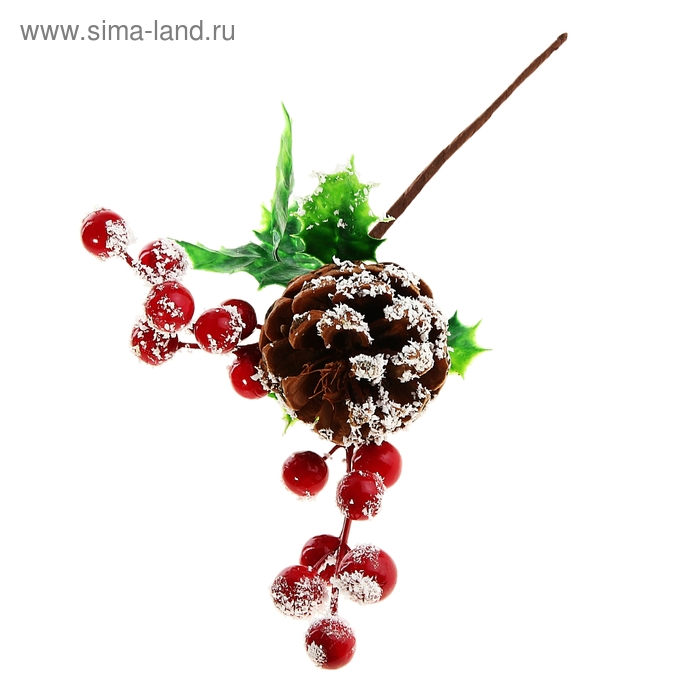 """Украшение новогоднее """"Веточка с ягодками с шишкой"""""""