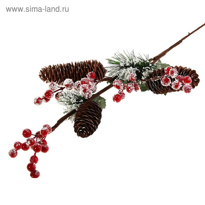 """Декор новогодний """"Ветка ели с зимними ягодами и шишками"""""""