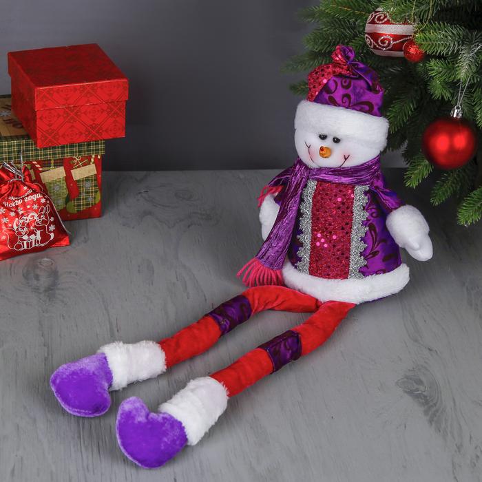 """Мягкая игрушка """"Снеговик в цветном наряде"""" (длинные ножки)"""