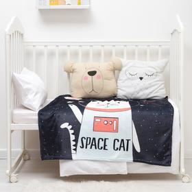 "Плед ""Крошка Я""  Space cat, 100*100 см, корал-флис 160гр/м2,  100% п/э"