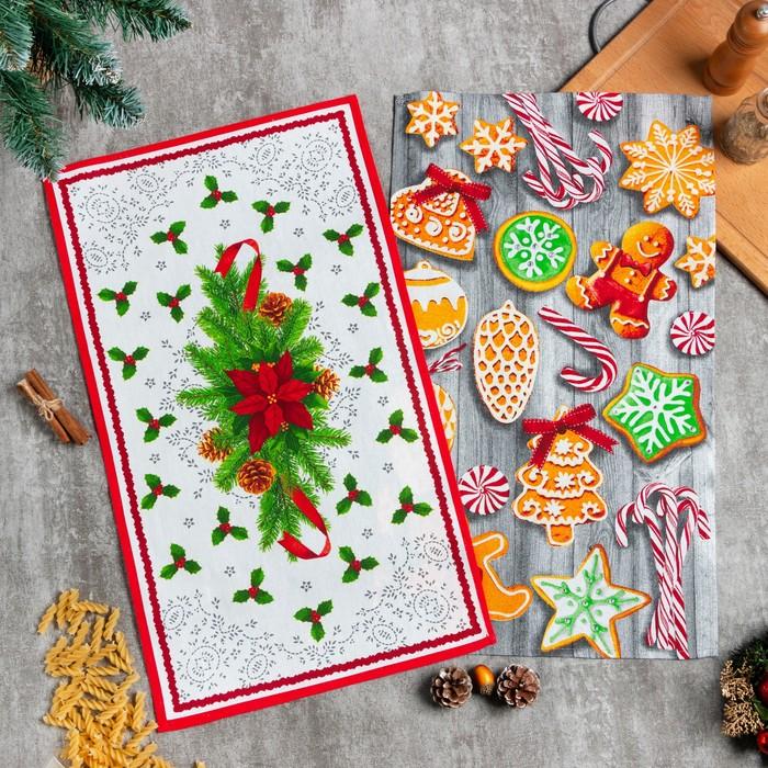 Набор кухонных полотенец Доляна «Новогоднее печенье » 35х60см-2шт, 100% хл