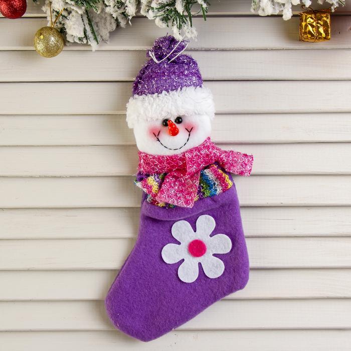 """Носок для подарка """"Снеговик с ромашкой"""""""