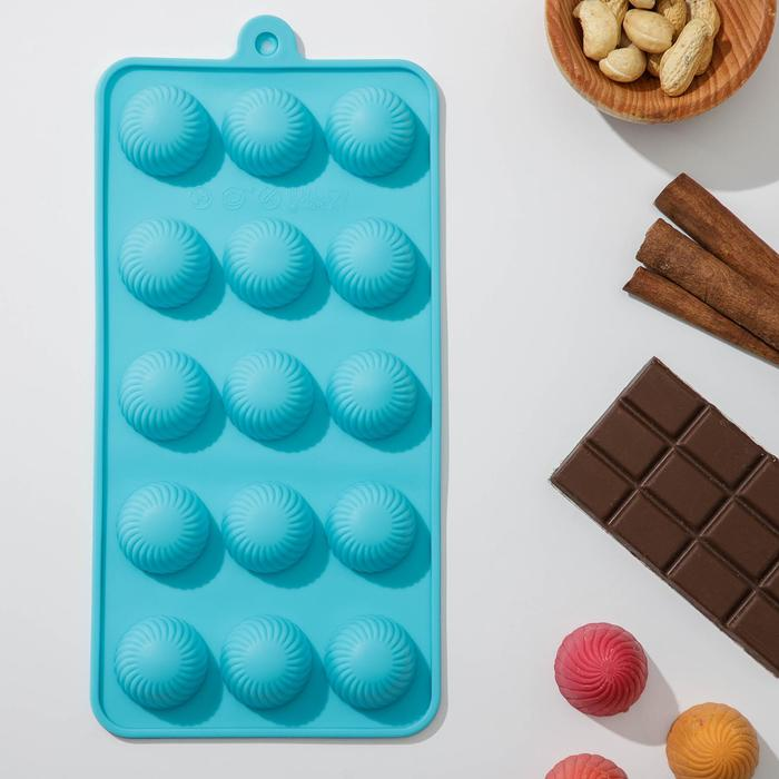 """Form for ice and chocolate, 15 cells, """"Balls"""" 21х10 cm"""