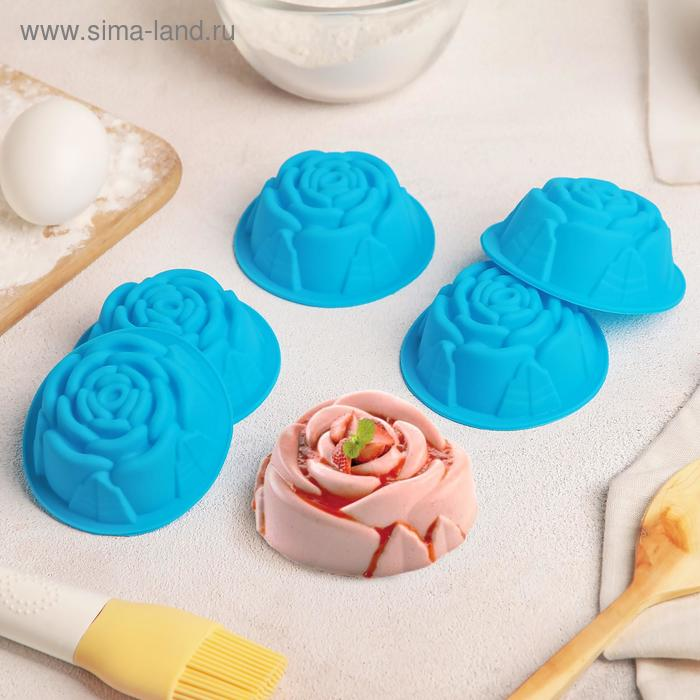 "Набор форм для выпечки ""Роза"", 6 шт, цвета МИКС"