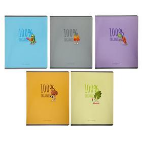 """Тетрадь 48 листов в клетку """"Органик"""", обложка мелованный картон, глянцевая ламинация, текстура, блок офсет, МИКС"""