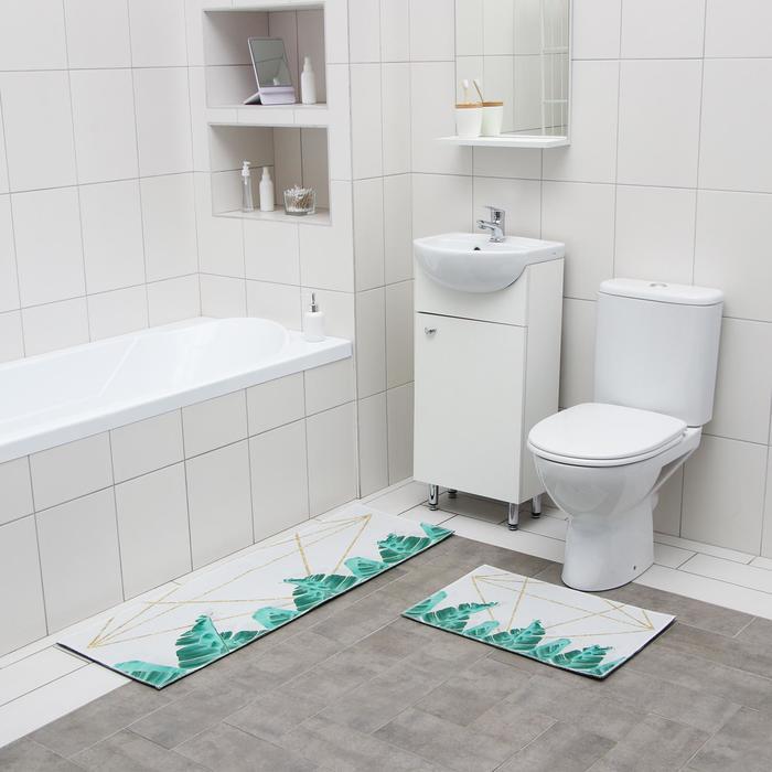 Набор ковриков для ванны и туалета Доляна «Грани», 2 шт: 40×60, 45×120 см