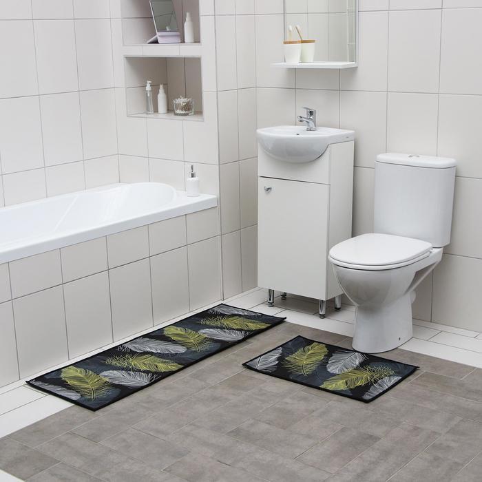 Набор ковриков для ванны и туалета Доляна «Перья», 2 шт: 40×60, 45×120 см