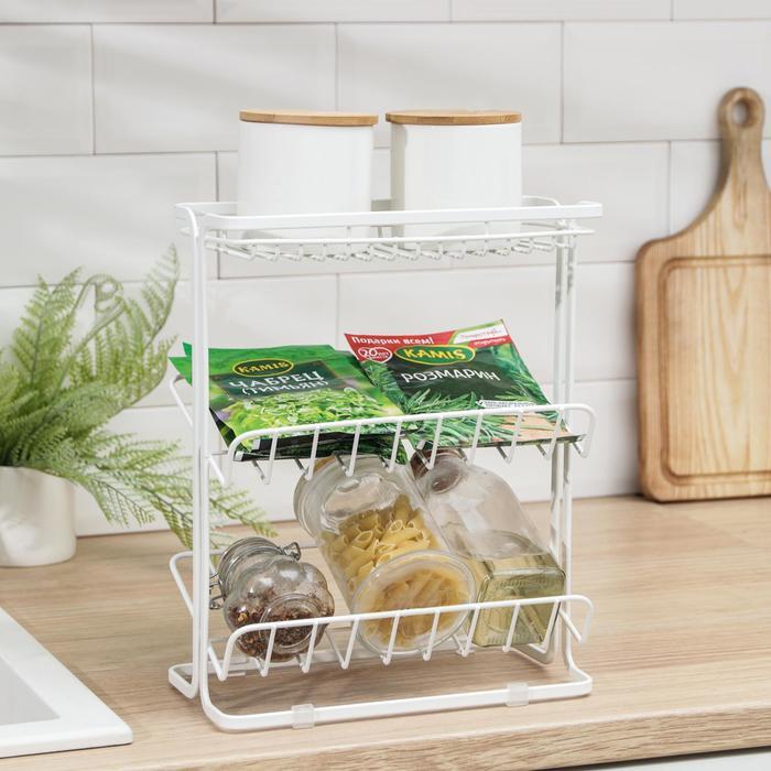 Полка кухонная для банок и специй 24х13х30 см, цвет белый