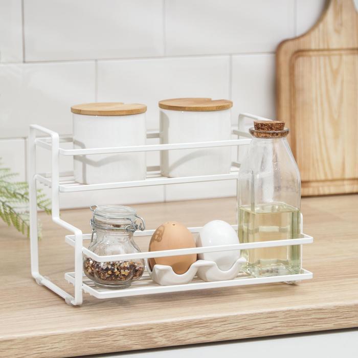 Полка кухонная для банок и специй 26х20х17 см, цвет белый