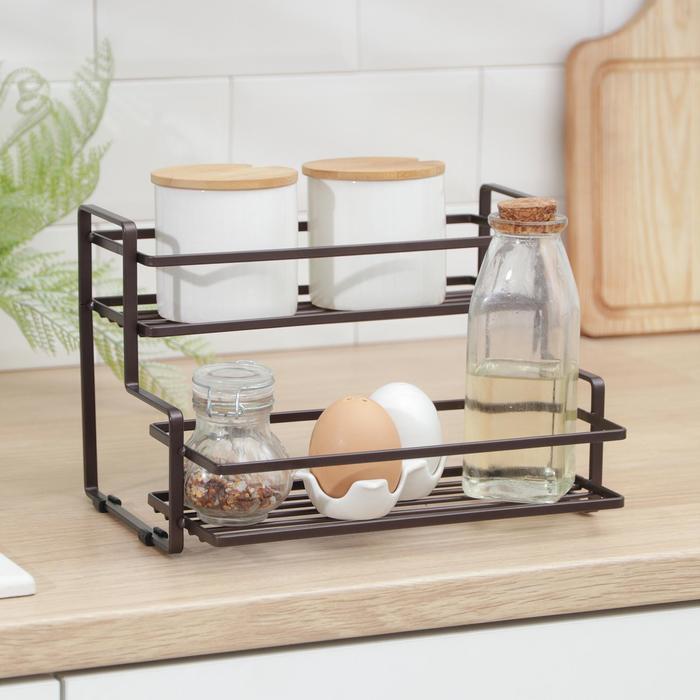 Полка кухонная для банок и специй 26х20х17 см, цвет коричневый