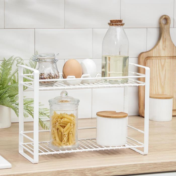 Полка кухонная для банок и специй 31х13х23 см, цвет белый