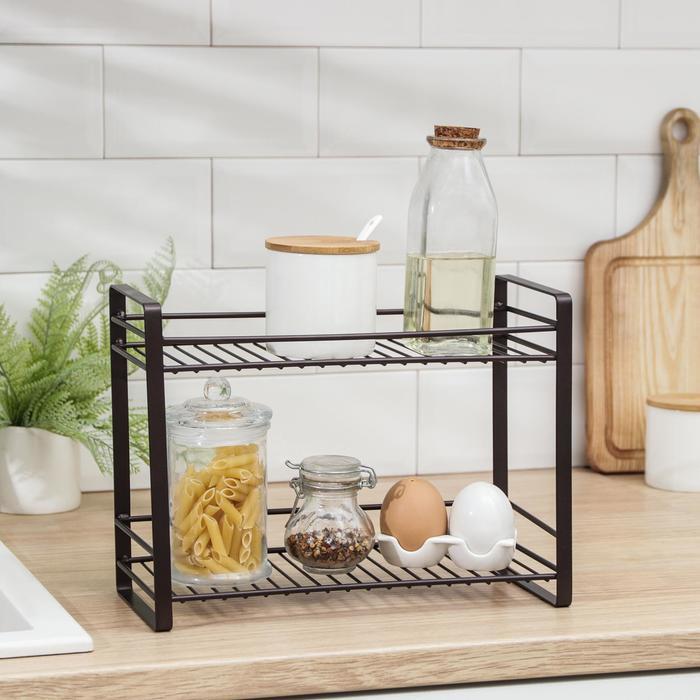 Полка кухонная для банок и специй 31х13х23 см, цвет коричневый
