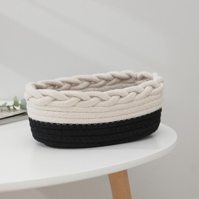 Корзина для хранения «Рэм», плетёная, 25×14,5×9 см, цвет чёрно-белый