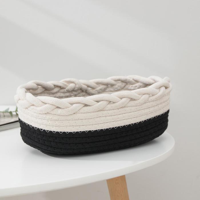 Корзина для хранения «Рэм», плетёная. 31×19×11 см, цвет чёрно-белый