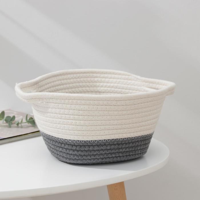 Корзина для хранения «Рита», плетёная, 30×20×13,5 см, цвет серый