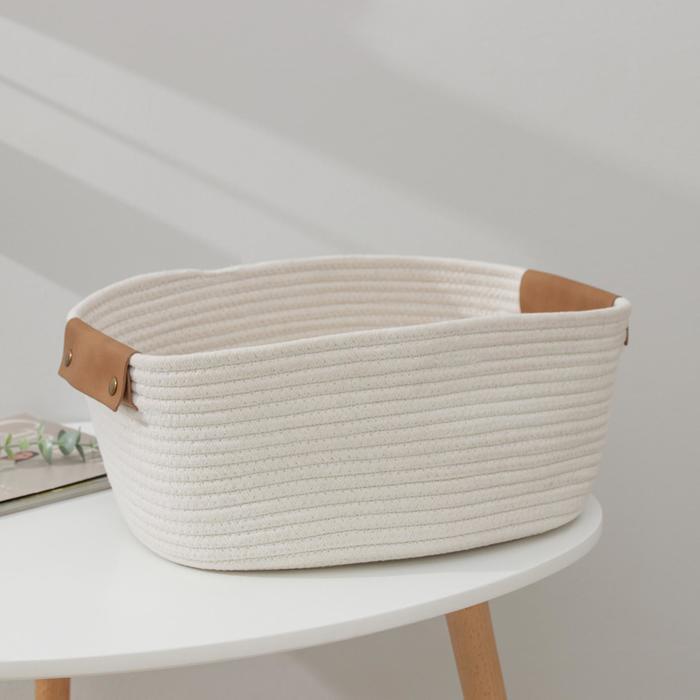 Корзина для хранения «Мира», плетёная, 38×28×15 см, цвет белый