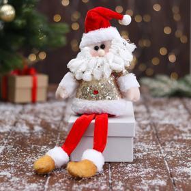 """Мягкая игрушка """"Дед Мороз в блестящей шубке - длинные ножки"""" 10х32 см, красно-золотой"""