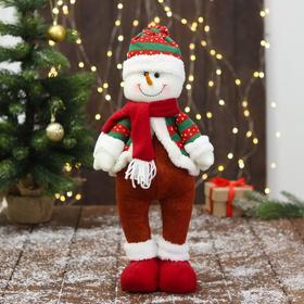 """Мягкая игрушка """"Снеговик - пузанчик"""" 10х42 см, красно-зелёный"""