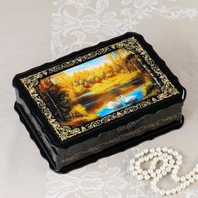 Шкатулка «Лебеди», 17×23×6 см, лаковая миниатюра
