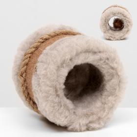 Игрушка-когтеточка с шариком, джут и ковролин, 10 х 10 см, темно-бежевая
