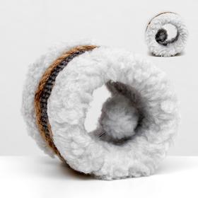 Игрушка-когтеточка с шариком, джут и ковролин, 10 х 10 см, светло-серая