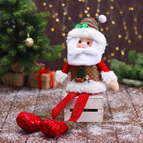 """Мягкая игрушка """"Дед Мороз в новогоднем костюме - длинные ножки"""" 12х62 см"""